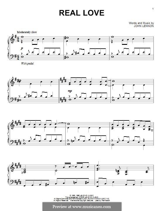 Real Love (The Beatles): Para Piano by John Lennon