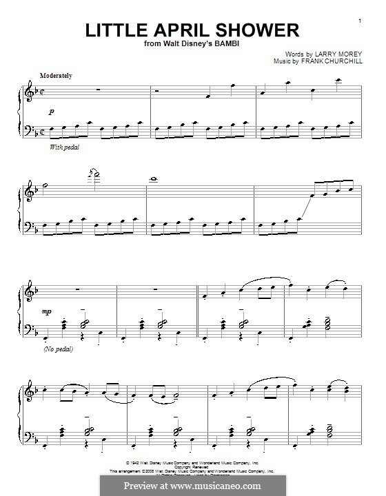 Little April Shower (from Bambi): para piano (F maior) by Frank Churchill