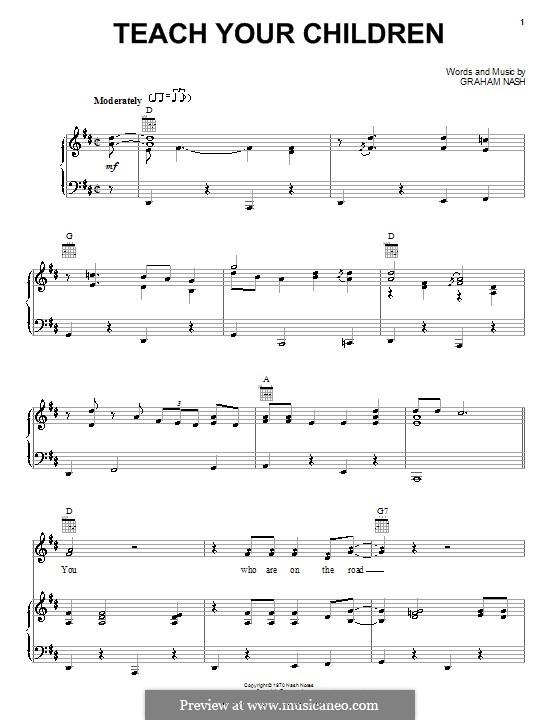 Teach Your Children (Crosby, Stills & Nash): Para vocais e piano (ou Guitarra) by Graham Nash