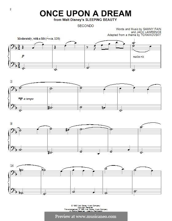Once upon a Dream: para piano de quadro mãos by Jack Lawrence, Sammy Fain