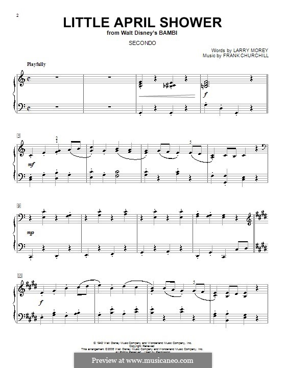 Little April Shower (from Bambi): para piano de quadro mãos by Frank Churchill