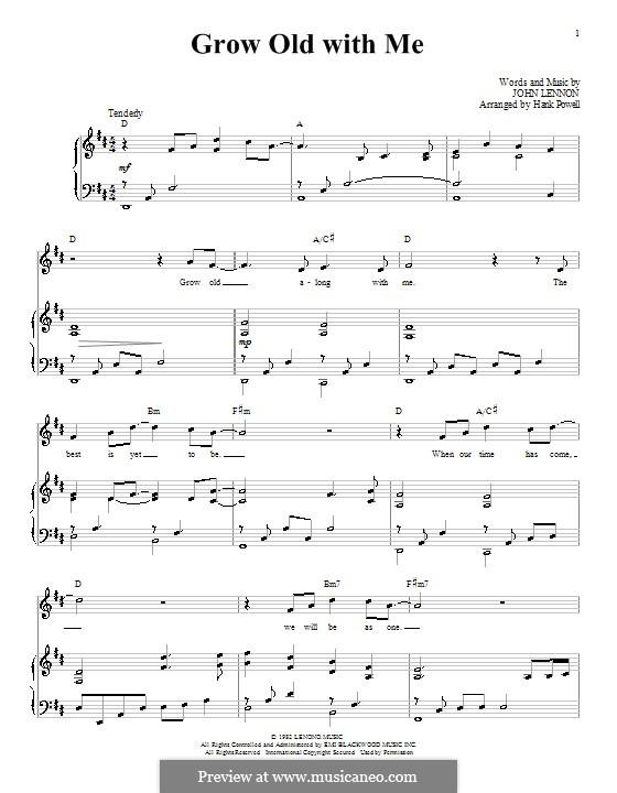 Grow Old With Me: Para vocais e piano (ou Guitarra) by John Lennon