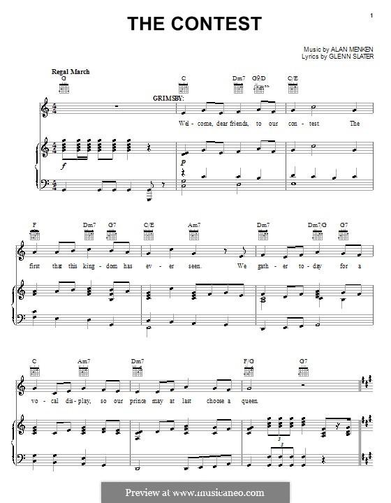 The Contest: Para vocais e piano (ou Guitarra) by Alan Menken