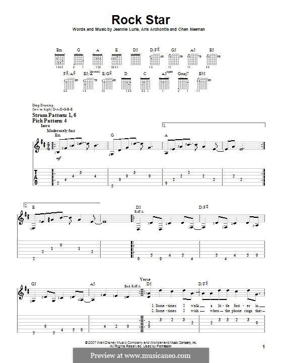 Rock Star (Hannah Montana): Para guitarra (versão facil) by Aris Archontis, Chen Neeman, Jeannie Lurie