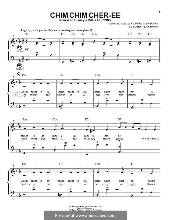 Chim Chim Cher-ee (from Mary Poppins): para acordeão by Richard M. Sherman, Robert B. Sherman
