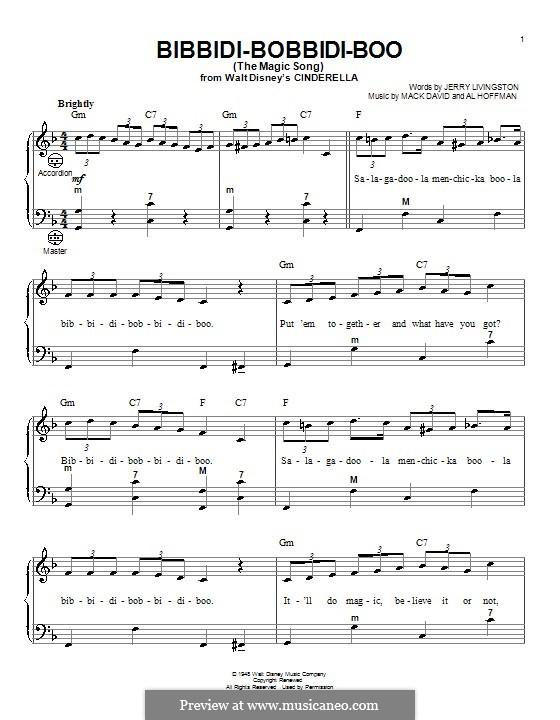 Bibbidi-Bobbidi-Boo (The Magic Song): para acordeão by Al Hoffman, Mack David