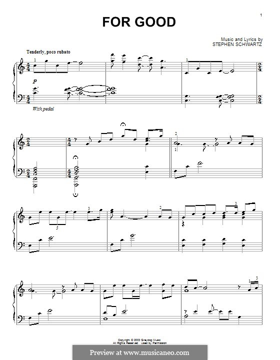 For Good: Para Piano by Stephen Schwartz