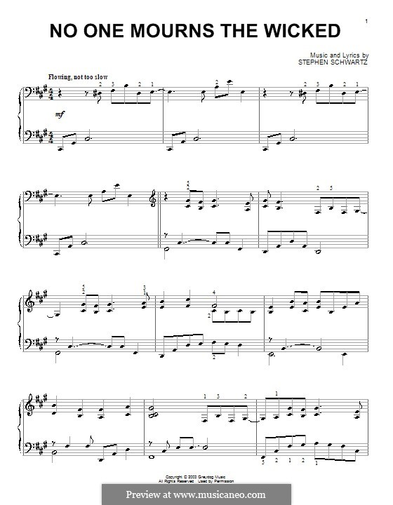 No One Mourns the Wicked: Para Piano by Stephen Schwartz