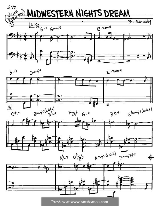Midwestern Nights Dream: Melodia e acordes - clave de fá instrumentos by Pat Metheny