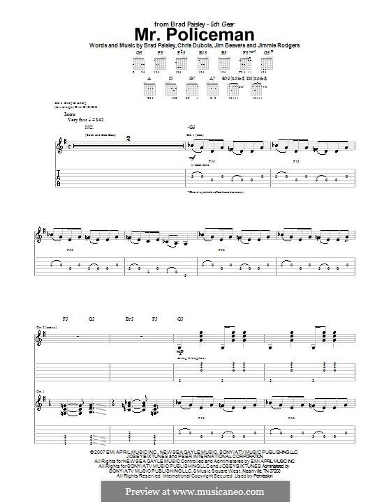 Mr. Policeman (Brad Paisley): Para guitarra com guia by Chris DuBois, Jim Beavers, Jimmie Rodgers