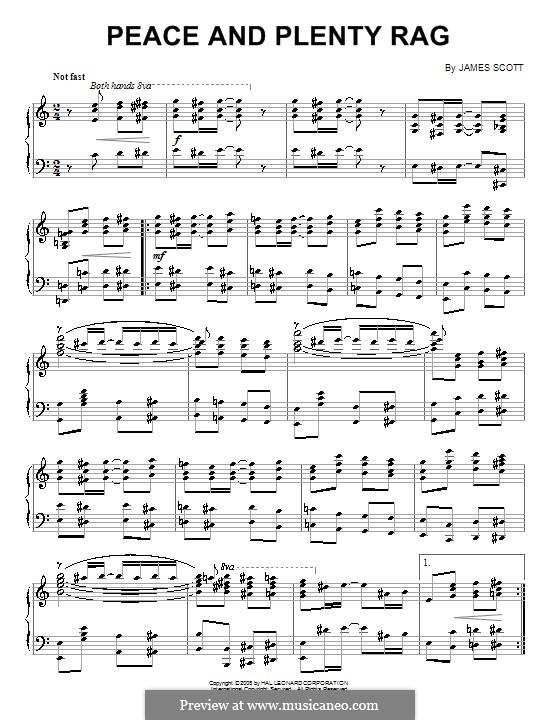 Peace and Plenty Rag: Para Piano by James Scott