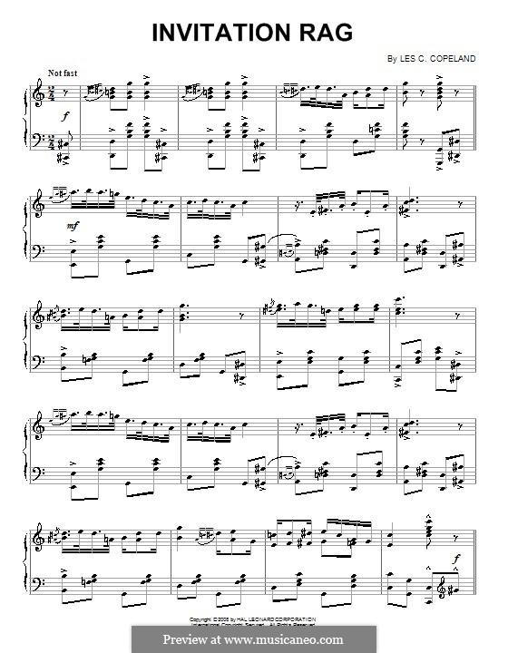 Invitation Rag: Para Piano by Les C. Copeland