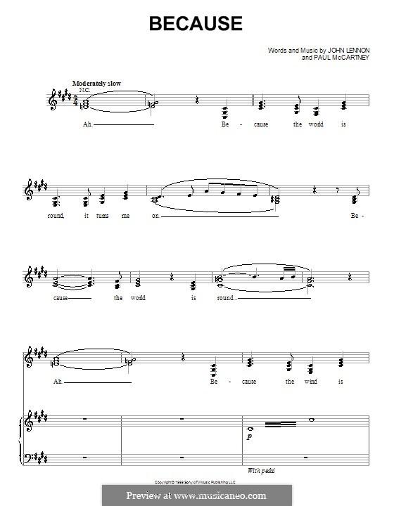 Because (The Beatles): Para vocais e piano (ou Guitarra) by John Lennon, Paul McCartney