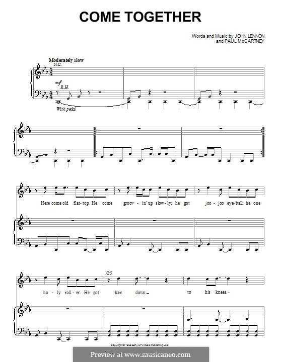 Come Together (The Beatles): For voice and piano or guitar (C Minor) by John Lennon, Paul McCartney