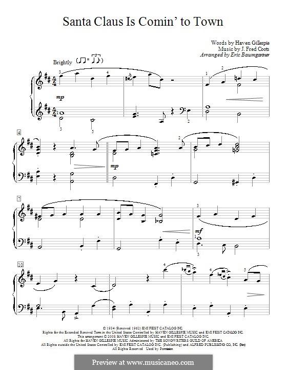 Santa Claus is Comin' to Town, for Piano: para um único musico (Editado por H. Bulow) by J. Fred Coots