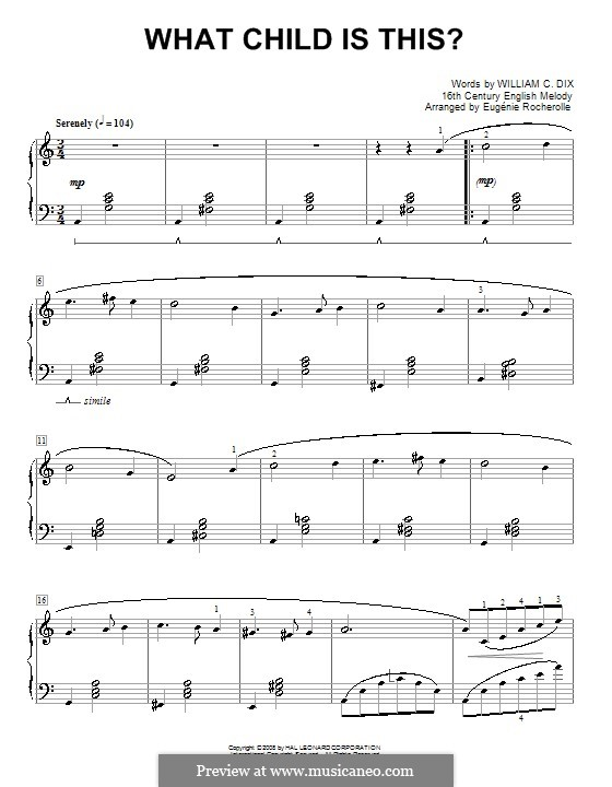 What Child Is This?, for Piano: For a single performer (E Minor) by folklore