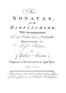 Six Sonatas for Harpsichord, Two Violins and Cello, Op.8: Violin II and cello parts by Charles Avison