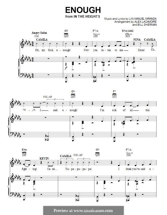 Enough: Para vocais e piano (ou Guitarra) by Lin-Manuel Miranda