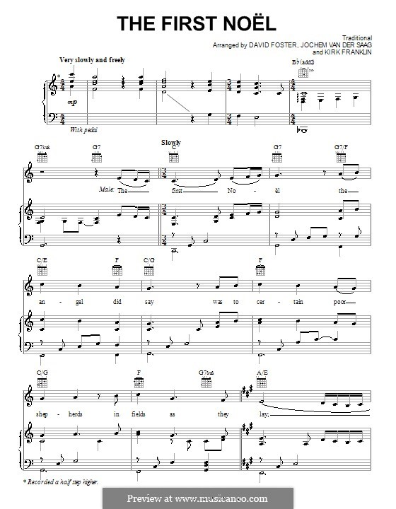 The First Nowell (The First Noël), Printable scores: para voz e piano ou guitarra (C maior) by folklore