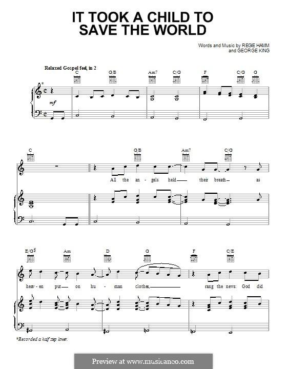 It Took a Child to Save the World (Dino): Para vocais e piano (ou Guitarra) by George King, Regie Hamm