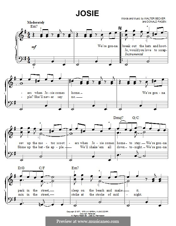 Josie (Steely Dan): Facil para o piano by Donald Fagen, Walter Becker