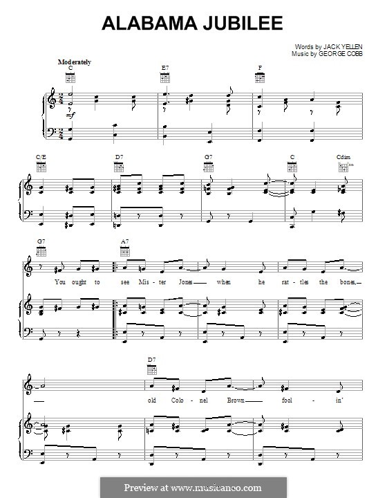 Alabama Jubilee: For voice and piano or guitar (Jack Yellen) by George L. Cobb