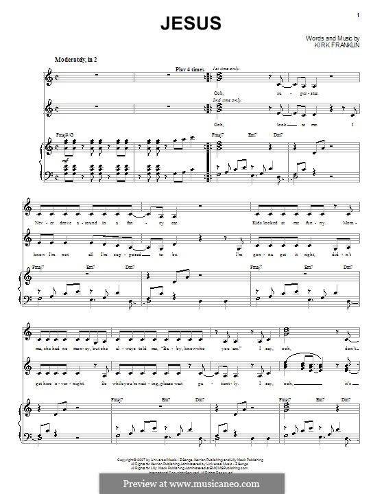 Jesus: Para vocais e piano (ou Guitarra) by Kirk Franklin