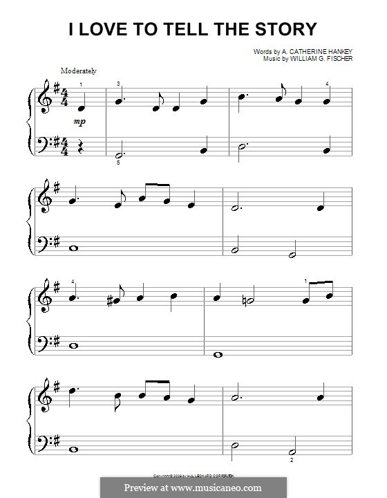 I Love to Tell the Story: para piano (versão facil) by William G. Fischer