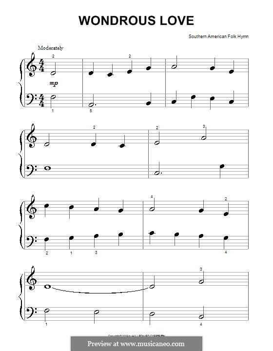 Wondrous Love: para piano (versão facil) by folklore