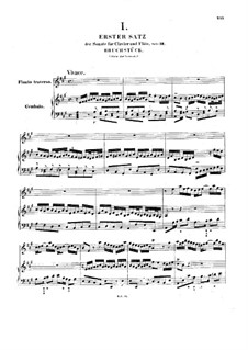 Sonata for Flute and Harpsichord No.3 in A Major, BWV 1032: Partitura completa by Johann Sebastian Bach