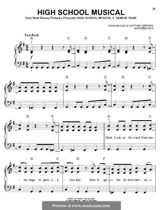 High School Musical (from High School Musical 3): Facil para o piano by Matthew Gerrard, Robbie Nevil