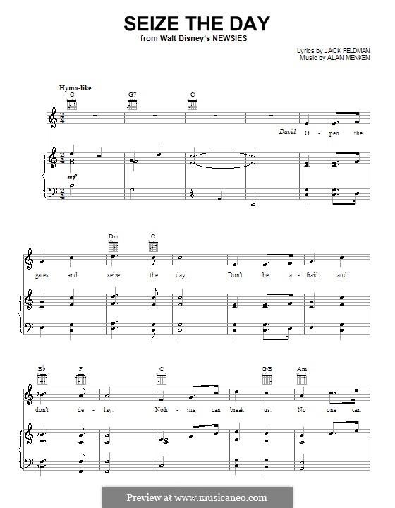 Seize the Day (from Newsies): Para vocais e piano (ou Guitarra) by Alan Menken