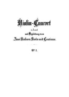Concerto for Violin, Strings and Basso Continuo No.1 in A Minor, BWV 1041: Partitura completa by Johann Sebastian Bach