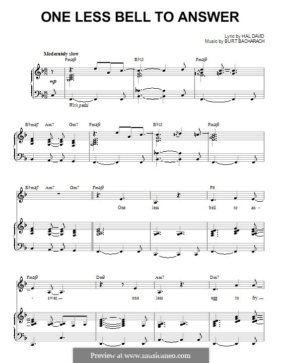 One Less Bell to Answer: Para voz e piano ou guitarra (Steve Tyrell) by Burt Bacharach