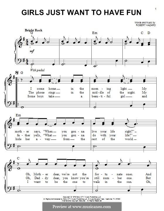Girls Just Want to Have Fun: Facil para o piano by Robert Hazard