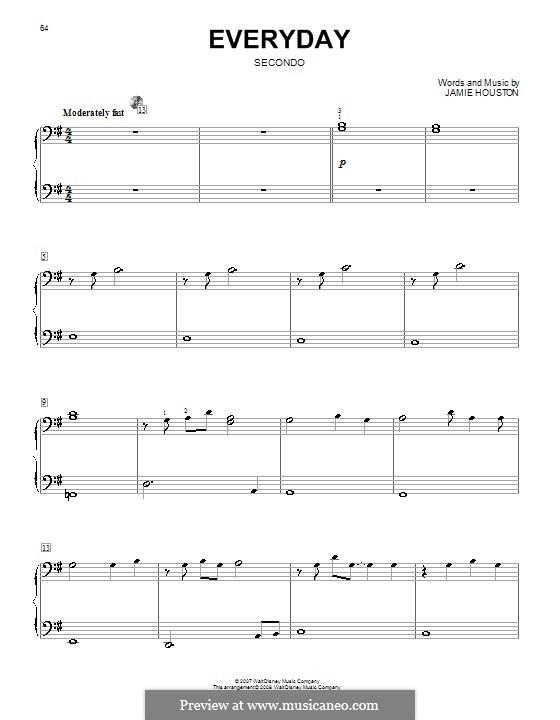Everyday (High School Musical 2): para piano de quadro mãos by Jamie Houston