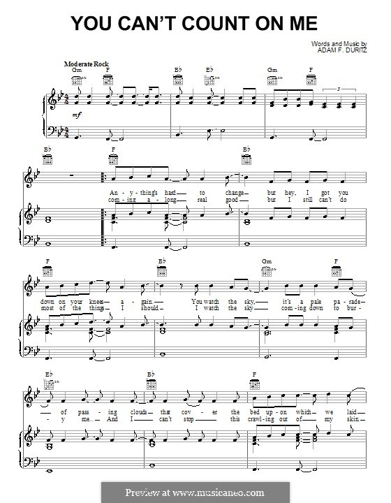 You Can't Count on Me (Counting Crows): Para vocais e piano (ou Guitarra) by Adam F. Duritz