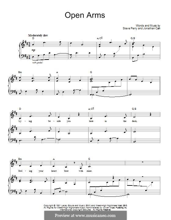 Open Arms (Journey): Para vocais e piano (ou Guitarra) by Jonathan Cain, Steve Perry