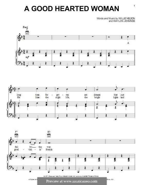A Good Hearted Woman: Para vocais e piano (ou Guitarra) by Waylon Jennings, Willie Nelson