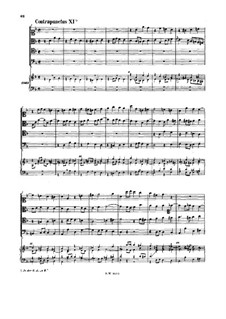 The Art of Fugue, BWV 1080: No.11-15. For string quartet and keyboard by Johann Sebastian Bach