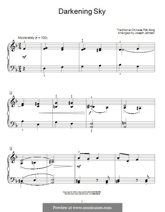 Darkening Sky: Para Piano by folklore
