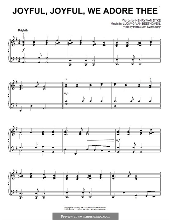 Ode to Joy, for Piano: G maior by Ludwig van Beethoven