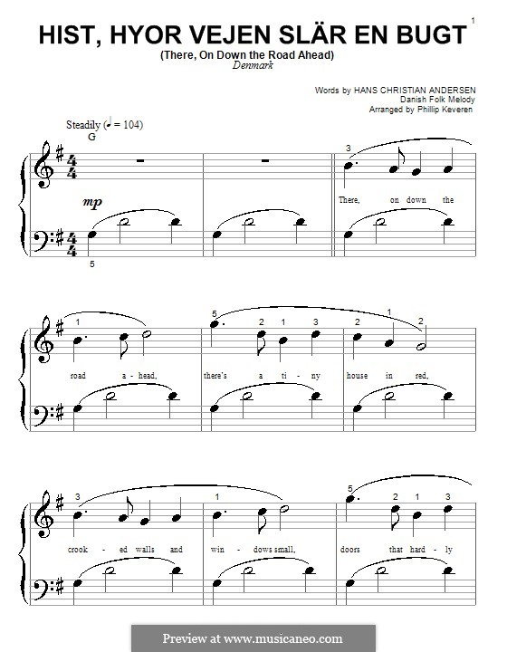 Hist, hyor vejen slar en bugt (There, on Down the Road Ahead): Piano (Big Notes) (Phillip Keveren) by folklore