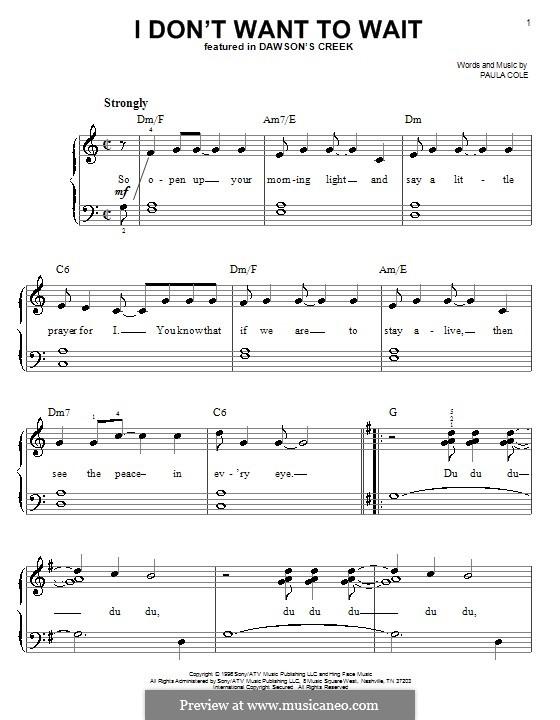 I Don't Want to Wait (theme from Dawson's Creek): Facil para o piano by Paula Cole