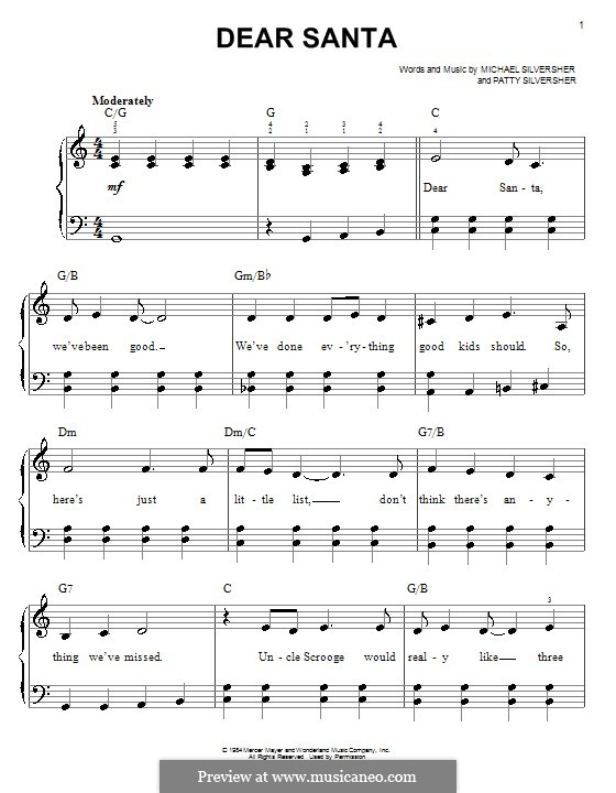 Dear Santa: Facil para o piano by Patty Silversher