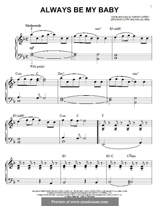 Always Be My Baby: Facil para o piano by Jermaine Dupri, Manuel Seal, Mariah Carey