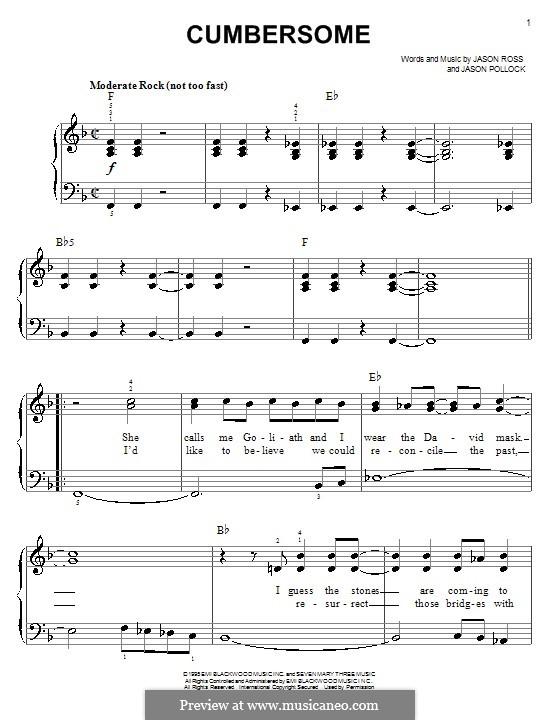 Cumbersome (Seven Mary Three): Facil para o piano by Jason Pollock, Jason Ross