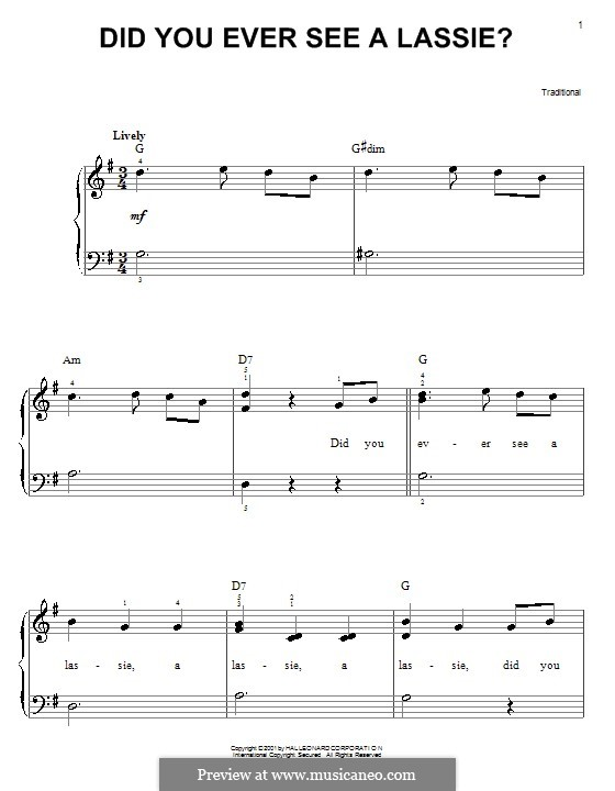 Did You Ever See a Lassie?: Facil para o piano by folklore