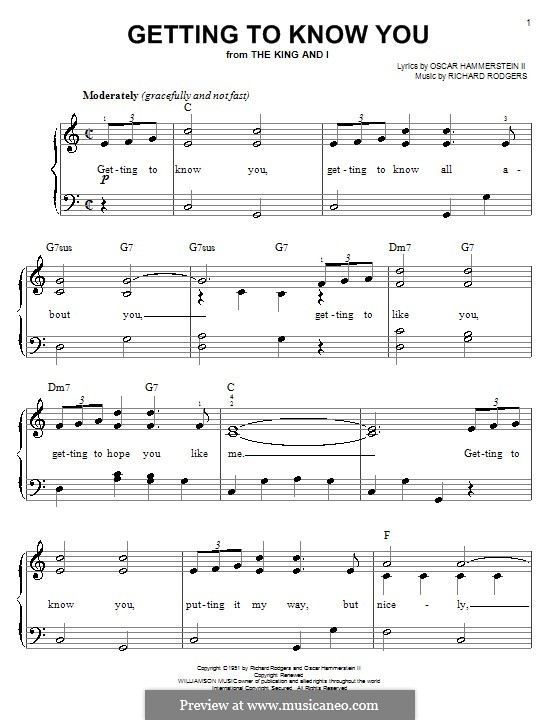 Getting to Know You (from The King and I): Facil para o piano by Richard Rodgers