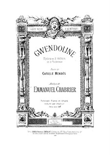 Gwendoline: Partitura Piano-vocal by Emmanuel Chabrier